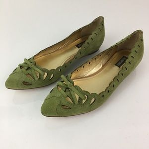 Joan & David Suede Perforated Ballet Flats Green